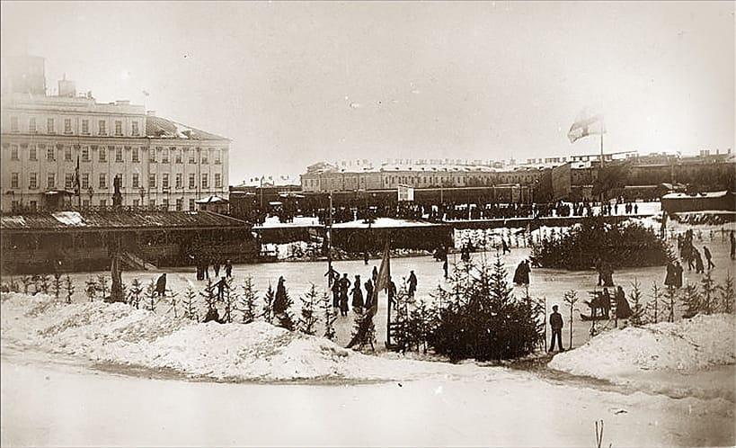 Каток на Итальянском пруду, Кронштадт 1900-1910 гг