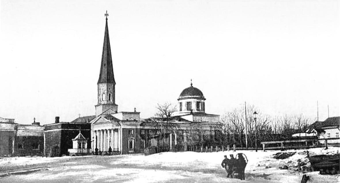 Кирхи св. Николая и св. Елизаветы зимой, Кронштадт 1900-х гг
