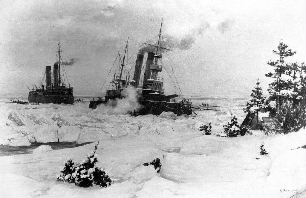 Ледокол «Ермак» спасает броненосец «Генерал–адмирал Апраксин» из ледового плена, 1899 год, Финский залив