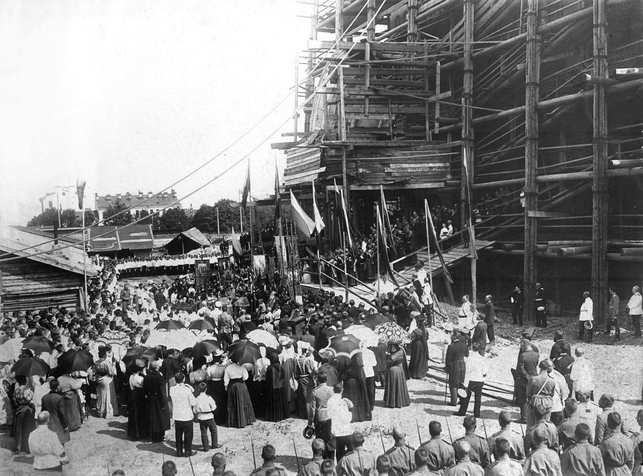 Подъем колокола на звонницу Морского собора, Кронштадт 29 июня 1907 г