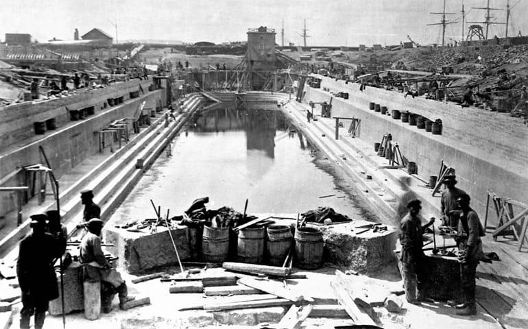 Строительство Константиновского дока, Кронштадт 1870–1876 гг