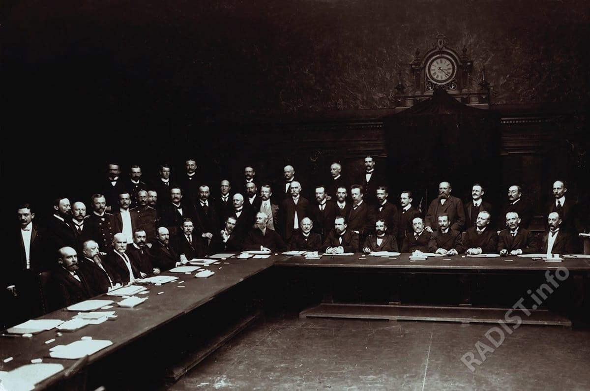 Групповой портрет участников первой (предварительной) международной радиотелеграфной конференции