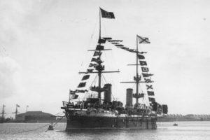 Военный итальянский крейсер «Carlo Alberto на Кронштадтском рейде на котором прибыл Г. Маркони в 1902 году