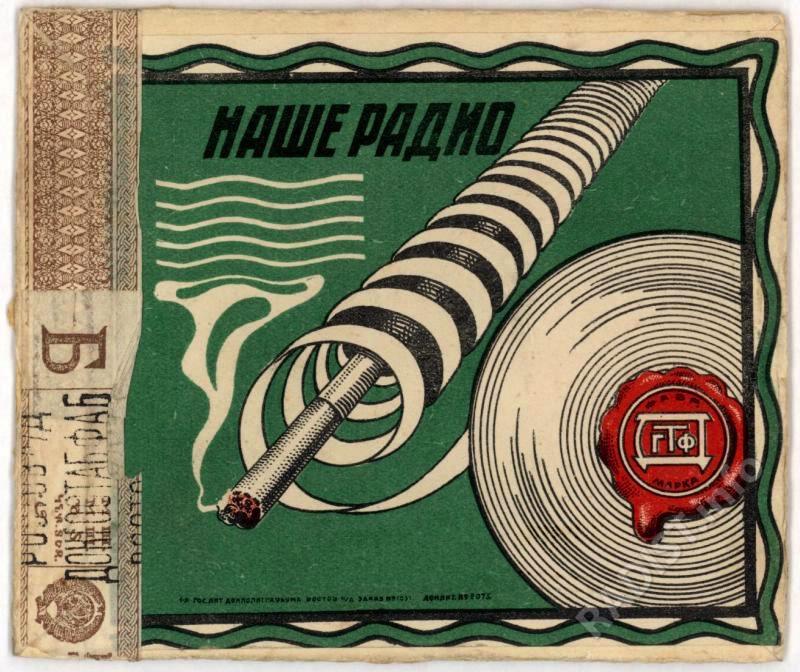 Этикетка папиросной коробки «Наше радио», 1920-1950-е гг.