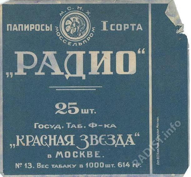 Этикетка табачных изделий из-под папирос «Радио». г. Москва. Государственная табачная фабрика «Москва».