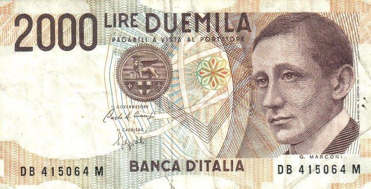 Бумажный денежный знак. Банкнота с портретом Г. Маркони, 1990 г.