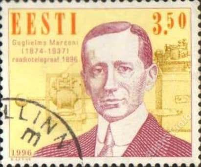 Почтовая марка «Столетие радио. Гульельмо Маркони». Номинал 3,50. Эстония, 1996 г.