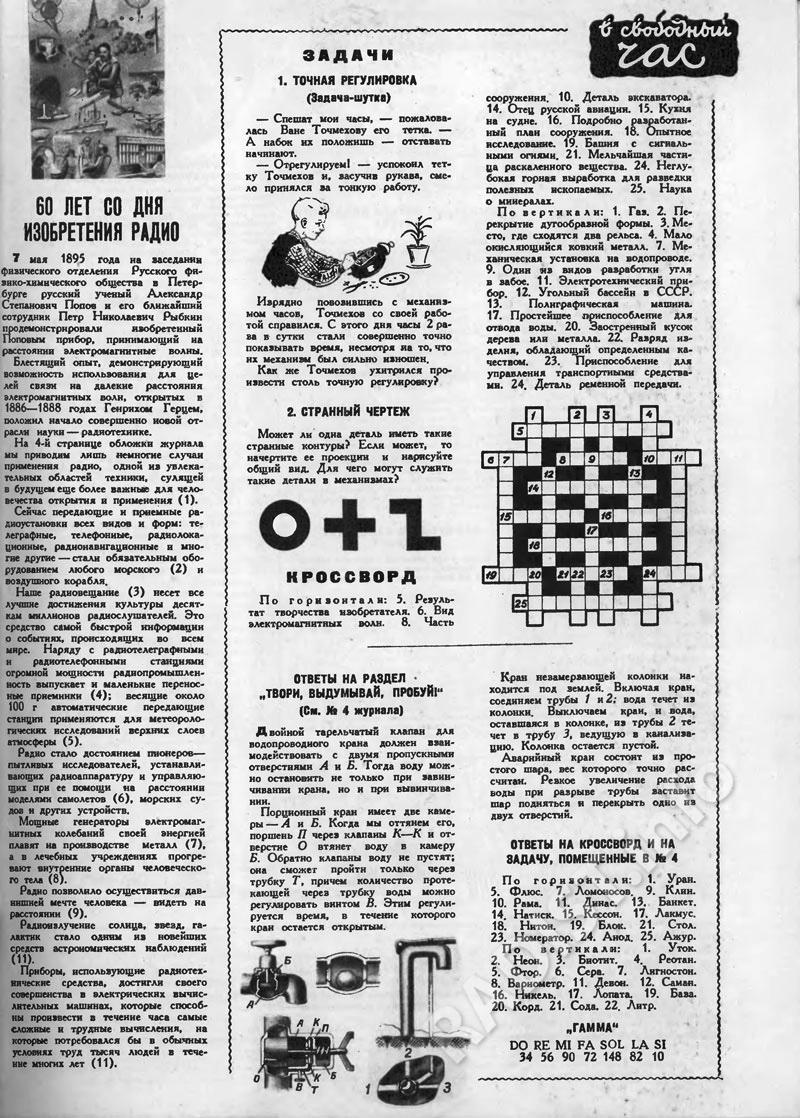 Статья «60 лет со дня изобретения радио» в журнале «Техника – Молодёжи», выпуск май 1955 г.