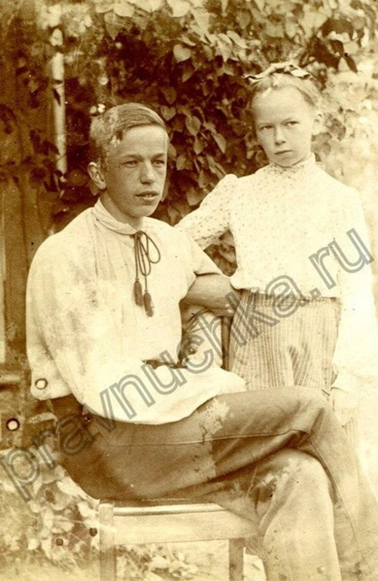 А.А. Попов с сестрой Раисой,1902-1903 г.