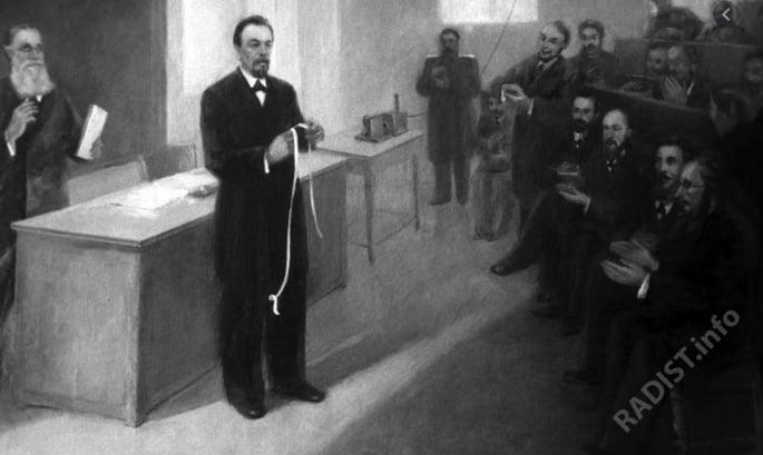 А.С. Попов принимает первую радиограмму