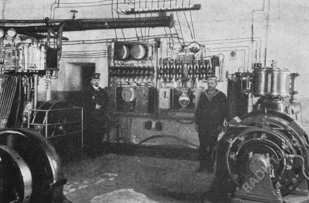 Станция параллельного соединения динамо-машин в Минном офицерском классе.