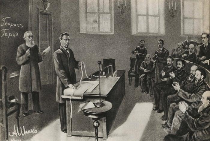 Картина «А.С. Попов принимает первую в мире радиограмму». Художник А. Шимко